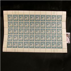1959 Original Mint (50) Count Sheet United Nations Four Cent Stamps.