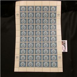 1957 Original Mint (50) Count Sheet United Nations Three Cent Stamps.