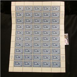 1959 Original Mint (50) Count Sheet United Nations 7c Cent Stamps.