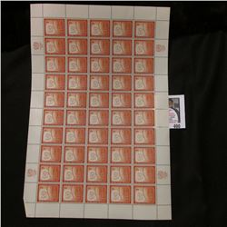 1957 Original Mint (50) Count Sheet United Nations 3c Cent Stamps.