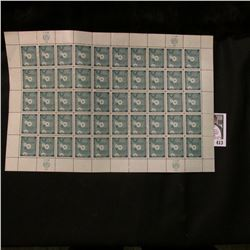 1958 Original Mint (50) Count Sheet United Nations 4c Cent Stamps.