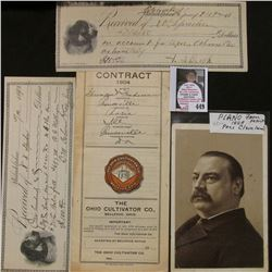 "1904 Contract ""The Ohio Cultivator Co., Bellevue, Ohio""; (2) 1892 receipts depicting a dog on left s"