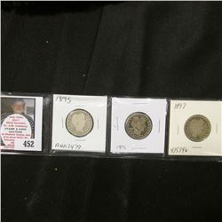 1895 P, 1896 P, & 1897 P Good condition Barber Quarters.