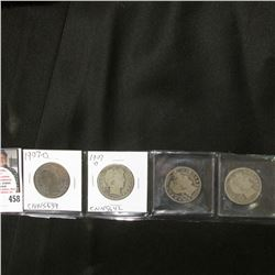 1898 S, 1906 O, 1907 D, & 1907 O U.S. Barber Half Dollars, Good.