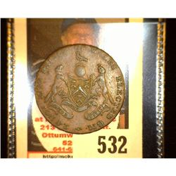 """24th Nov. 1790 Prince of Wales Elected GM"", ""Geo Prince of Wales Halfpenny"", Seaby #953, EF."