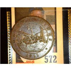 """1811 Devon Mines"", ""Tavistock/Penny Token"", depicts Prince of Wales Feathers, D&H #24, VF."