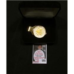 "1996 ""American Eagle"" Money Clip with gold-highlighted Kennedy Half Dollar in original case of issue"