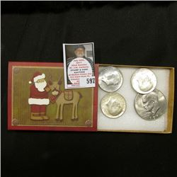 Santa Claus with Reindeer box with (2) 1964 P & (1) 1964 D Kennedy Silver Half Dollars, & 1974 D Gem