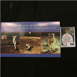 "1969 1989 ""First Men on the Moon"" $5 Commemorative Marshall Island Coin in original packaging."