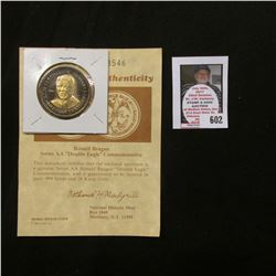 """Ronald Reagan Series AA ""Double Eagle"" Commemorative"" with Certificate of Authenticity, layered in"