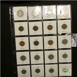 "20-pocket 2"" x 2"" Plastic page full of World Coins including Bahamas and Panama. (20 pcs.)"