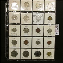 "20-pocket 2"" x 2"" Plastic page full of World Coins including Panama, India, Hong Kong, Venezuela, Gr"