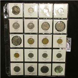 "20-pocket 2"" x 2"" Plastic page full of World Coins including Australia & New Zealand, one piece is S"