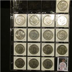 "20-pocket 2"" x 2"" Plastic page containing a partial Set of Eisenhower Dollars 1971-78. (16 pcs.)."