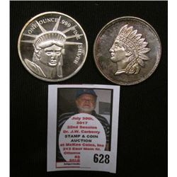 Indian & Statue of Liberty Design .999 Fine One Ounce Silver Rounds.