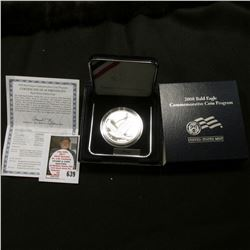 2008 P Bald Eagle Proof Commemorative Silver Dollar in original case as issued. Mtg. 500,000.