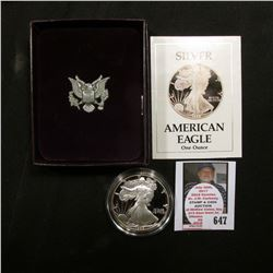 1988 S U.S. Proof American Eagle Silver Dollar .999 One Ounce in original case of issue.