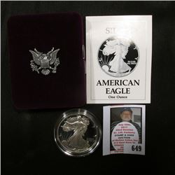 1990 S U.S. Proof American Eagle Silver Dollar .999 One Ounce in original case of issue.