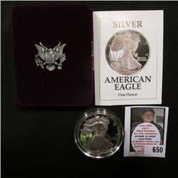 1991 S U.S. Proof American Eagle Silver Dollar .999 One Ounce in original case of issue.