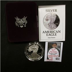 1992 S U.S. Proof American Eagle Silver Dollar .999 One Ounce in original case of issue.