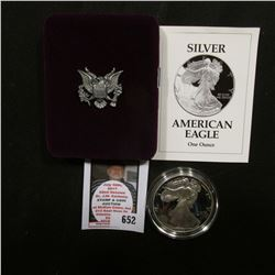 1993 P U.S. Proof American Eagle Silver Dollar .999 One Ounce in original case of issue.