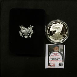 1995 P U.S. Proof American Eagle Silver Dollar .999 One Ounce in original case of issue.