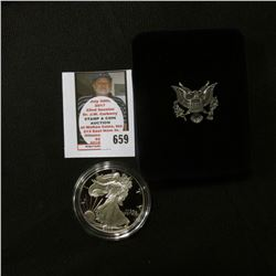 2000 W U.S. Proof American Eagle Silver Dollar .999 One Ounce in original case of issue.