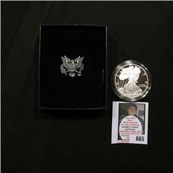 2006 W U.S. Proof American Eagle Silver Dollar .999 One Ounce in original case of issue.