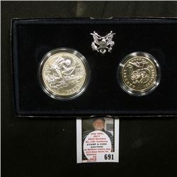 1991-1995 D World War II 50th Anniversary Two-Piece Commemorative Set with Silver Dollar and Half-Do