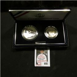 1991-1995 W & D World War II 50th Anniversary Two-Piece Commemorative Set with Silver Dollar and Hal
