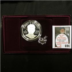 1998 S Proof Robert F. Kennedy Memorial Commemorative Silver Dollar in original holder as issued.