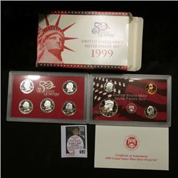 1999 S United States Mint Silver Proof Set in original box of issue.