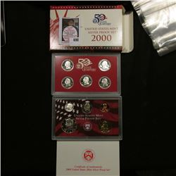 2000 S United States Mint Silver Proof Set in original box of issue.