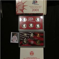 2001 S United States Mint Silver Proof Set in original box of issue.