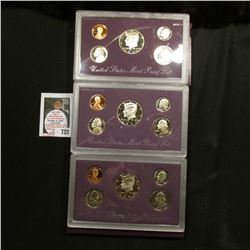 1990, 1991, & 1992 U.S. Proof Sets. Original as issued.
