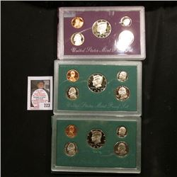 1993, 1994, & 1995 U.S. Proof Sets. Original as issued.