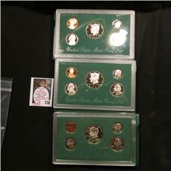 1996, 1997, & 1998 U.S. Proof Sets. Original as issued.