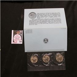 1980 P, D, & S U.S. Susan B. Anthony Dollar Souvenir Three-piece Set in original envelope of issue.