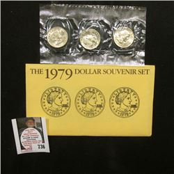 1979 P, D, & S U.S. Susan B. Anthony Dollar Souvenir Three-piece Set in original envelope of issue.