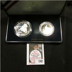 1995 S United States Mint Civil War Battlefield Two-Coin Proof Set, Half Dollar & Silver Dollar, ori