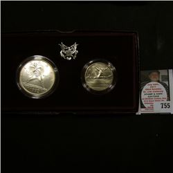 1992 U.S. Olympics Two-Coin Uncirculated Set. Silver Dollar and Half-Dollar. In original holder as i