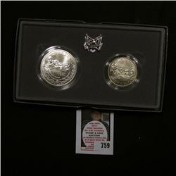 1991 Mount Rushmore Commemorative Two-Coin Uncirculated Set. Original as issued. Silver Dollar and H