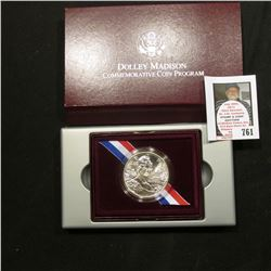 1999 P Dolley Madison Uncirculated Silver Dollar in original box as issued.