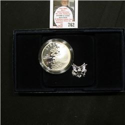 2002 P Proof Silver Dollar Olympic Winter Games Commemorative Coin in original box as issued.