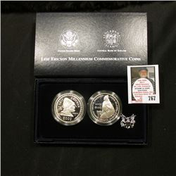 2000 Leif Ericson Millenium Commemorative U.S. and Icelandic Proof Silver Two-Coin Set. Original as