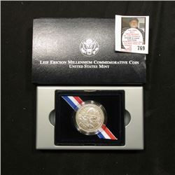 2000 Leif Ericson Millenium Commemorative U.S. Uncirculated Silver Dollar. Original as issued.