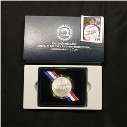 2002 W United States Military Academy Bicentennial Commemorative Uncirculated Silver Dollar. Origina