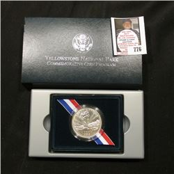 1999 P Yellowstone National Park Commemorative Uncirculated Silver Dollar. Original as issued.