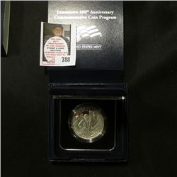 1607-2007 P Proof Jamestown 400th Anniversary Commemorative Silver Dollar in original box of issue.