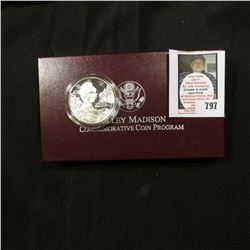 1999 P Proof Dolley Madison Silver Dollar Commemorative Coin in original box as issued.